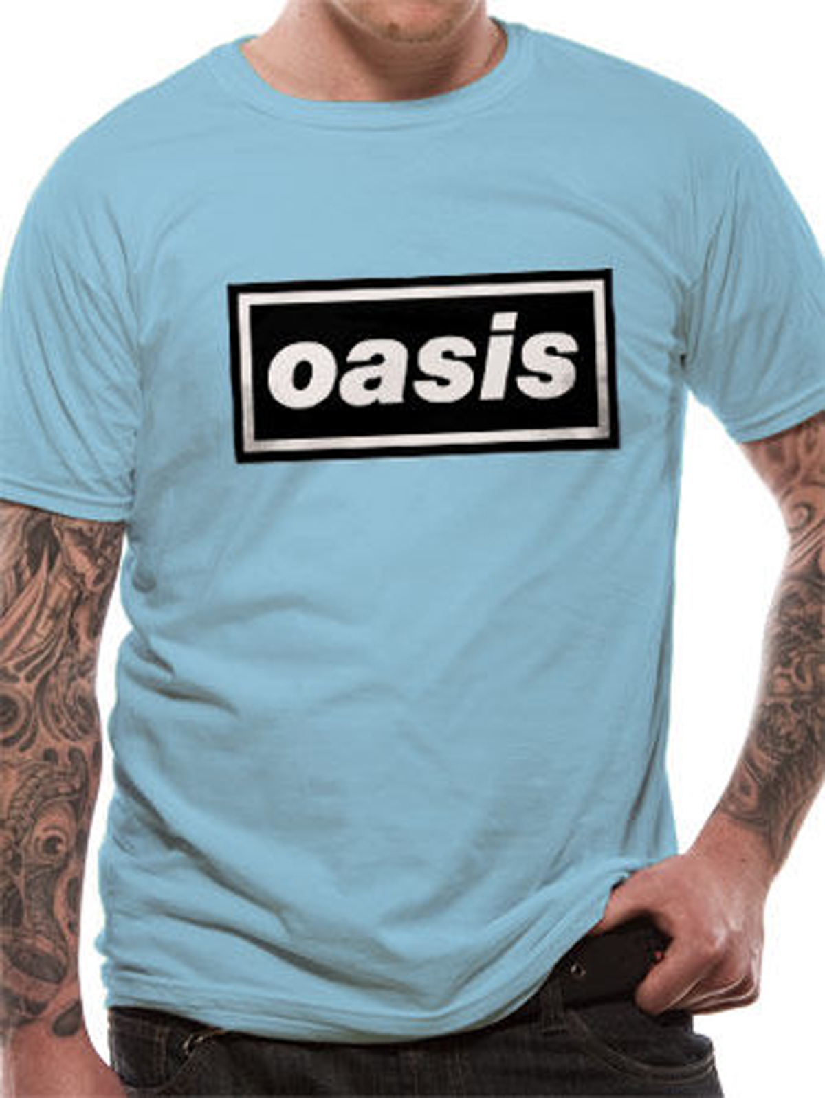 9bf5811364276 Blue Oasis Logo Liam Noel Gallagher Rock Licensed Tee T-Shirt Men